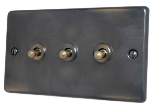 G&H CAN283 Standard Plate Polished Aged Brass 3 Gang 1 or 2 Way Toggle Light Switch
